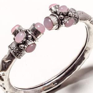925 silver bangle cuff bracelet Pink Chalcedony